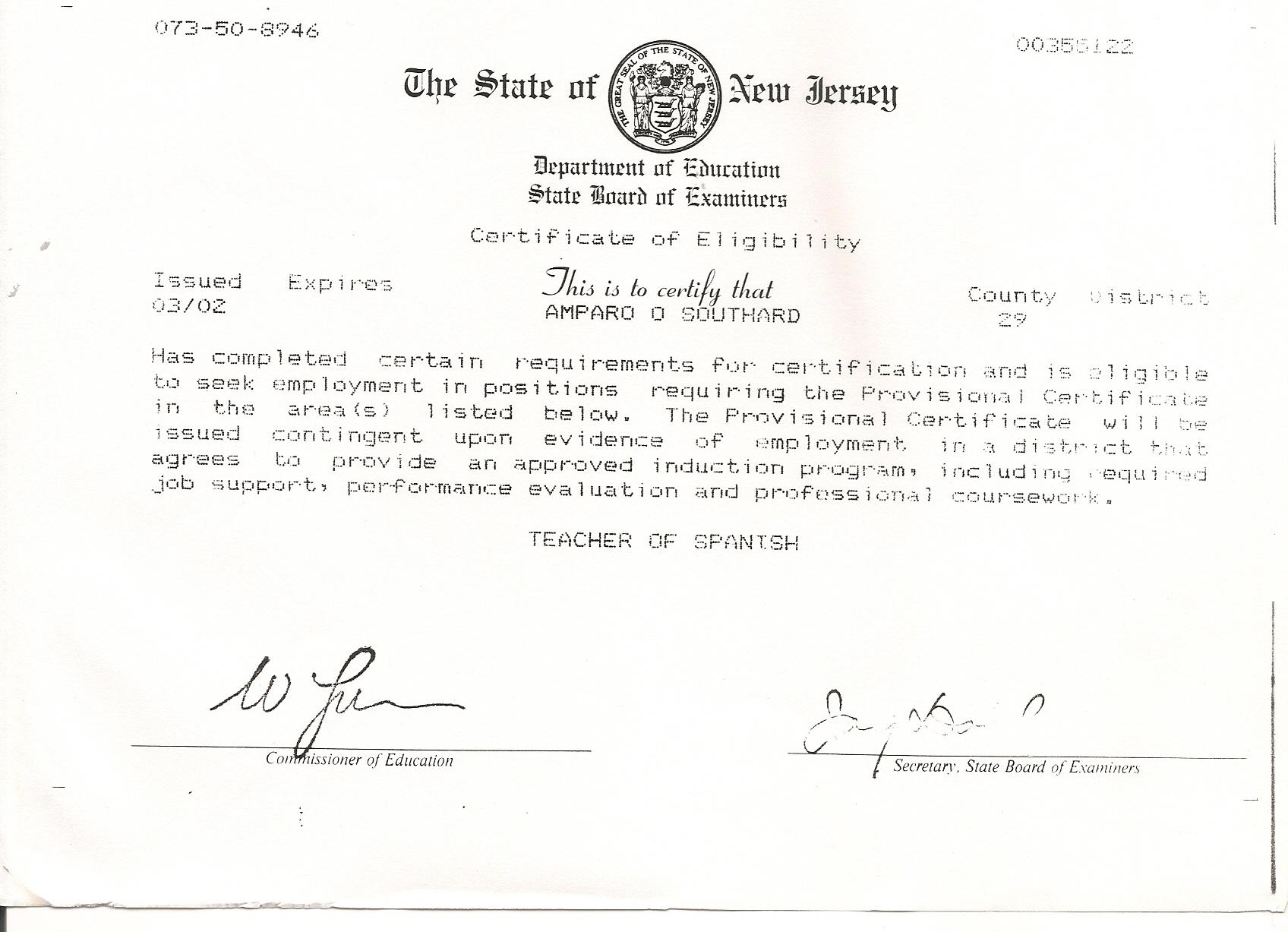 Free Resume Format Nj State Teacher Certification Resume Format